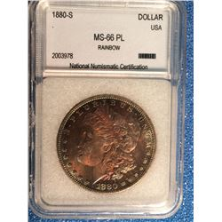 USA; 1 dollar 1880-S; NNC certified MS-66PL Rainbow.