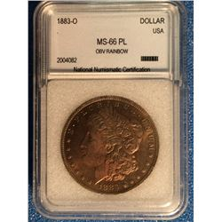 USA; 1 dollar 1883-O; NNC certified MS-66PL Obverse Rainbow.