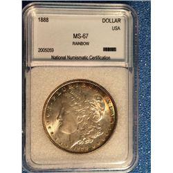USA; 1 dollar 1888; NNC certified MS-67 Rainbow.