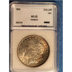 USA; 1 dollar 1896; NNC certified MS-65 Rainbow.