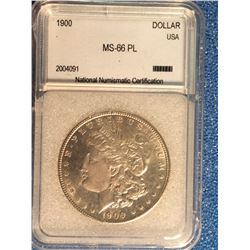USA; 1 dollar 1900; NNC certified MS-66PL.
