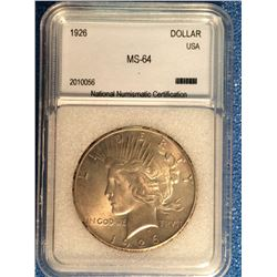 USA; 1 dollar 1926; NNC certified MS-64.