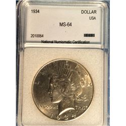 USA; 1 dollar 1934; NNC certified MS-64.