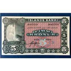 Iceland; 5 Kronur note 1920, Remainder 1 signature serial N.403359 UNC.