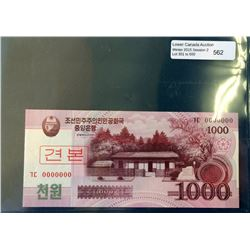 North Korea; 1000 Won note 2008, Specimen serial 0000000 UNC.