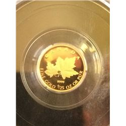 50 cents 2009; CCCS PF-70 Gold Red Maple Leaves 1/25th oz Gold Series.