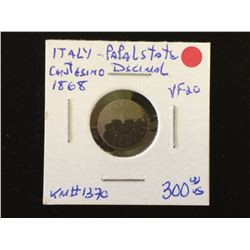 Italy, Papal States; 1 Centesimo 1868 in VF-20, KM # 1370 key Date.