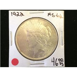 USA dollar Peace 1922 MS-62.