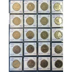Cuba; Lot of 20 commemorative 1 Peso coin from 1982 (6) , 1983 (3), 1984 (4) & 1985 (2) all BU and w