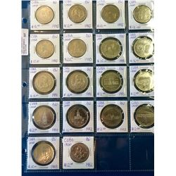 Cuba; Lot of 18 commemorative 1 Peso coin from 1982 (1) , 1990 (6), 1991 (7), 1992 (3) & 1993 (1) al