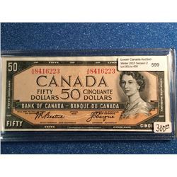 Bank of Canada; 50 dollars note 1954 Beattie Coyne BC-42a serial A/H8416223 in UNC.