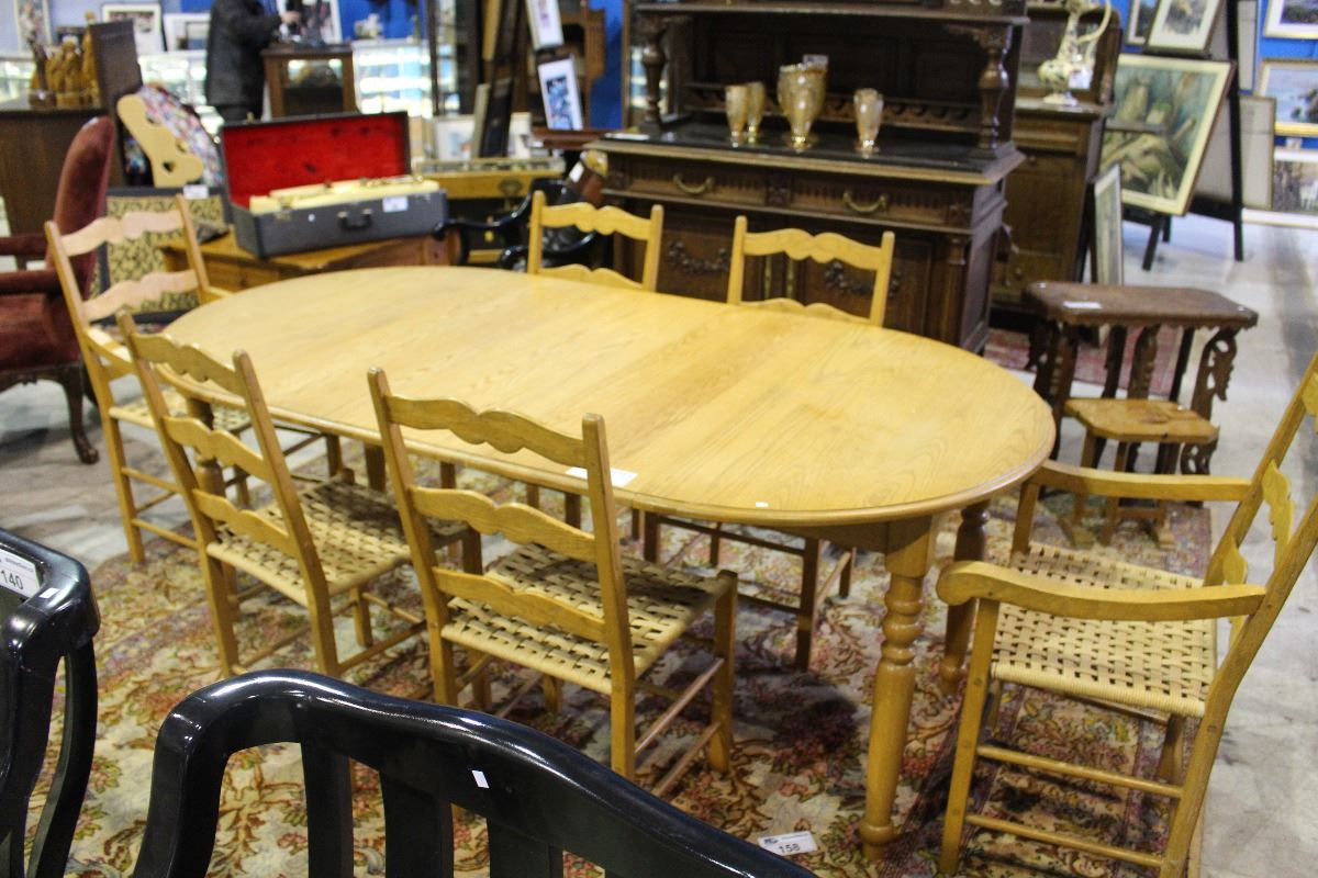 SOLID OAK DINING TABLE WITH 3 LEAVES AND 6 LADDER BACK  : 239462762 from bid.ableauctions.ca size 1200 x 800 jpeg 157kB