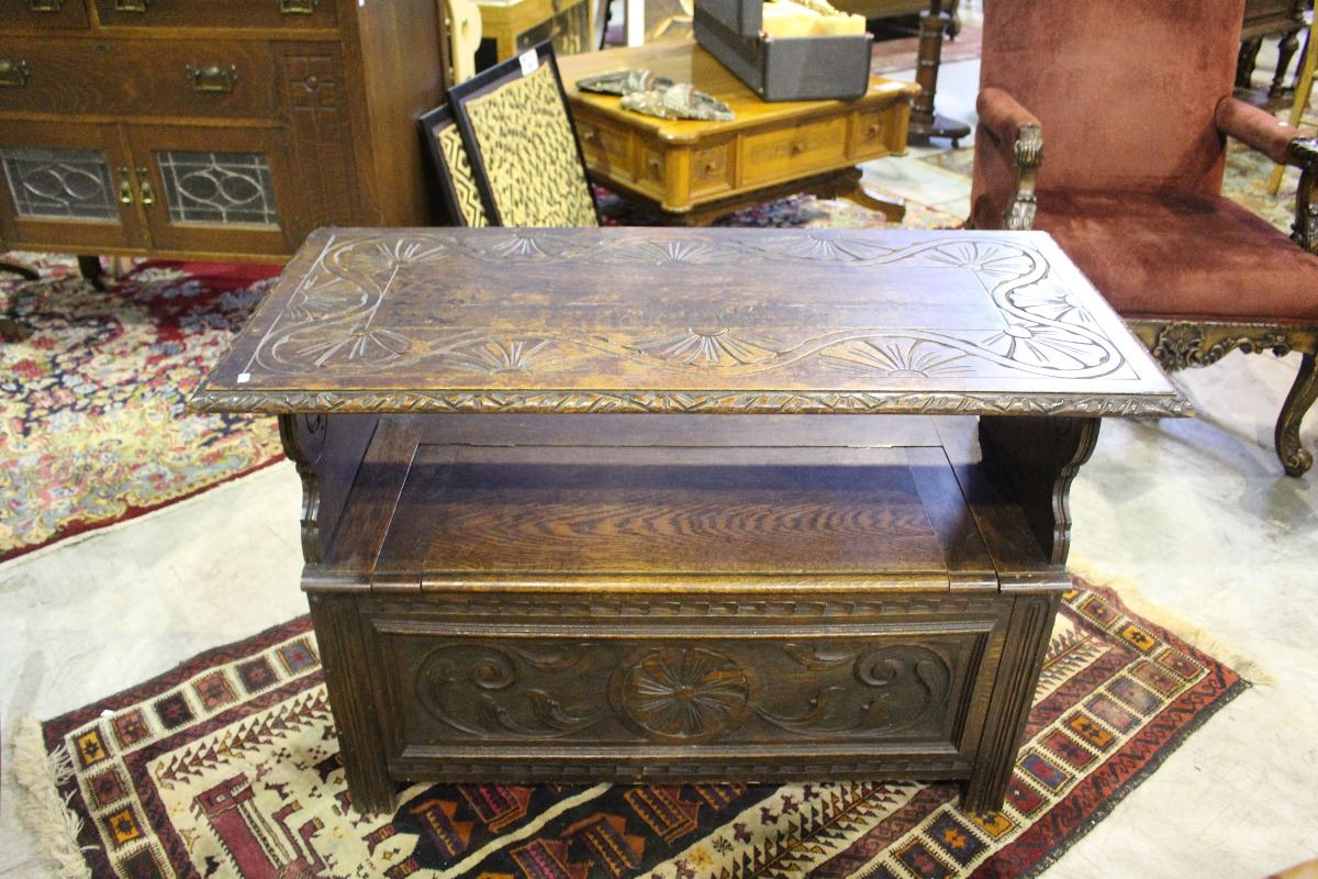 Early s oak with nice carving deacons bench seat