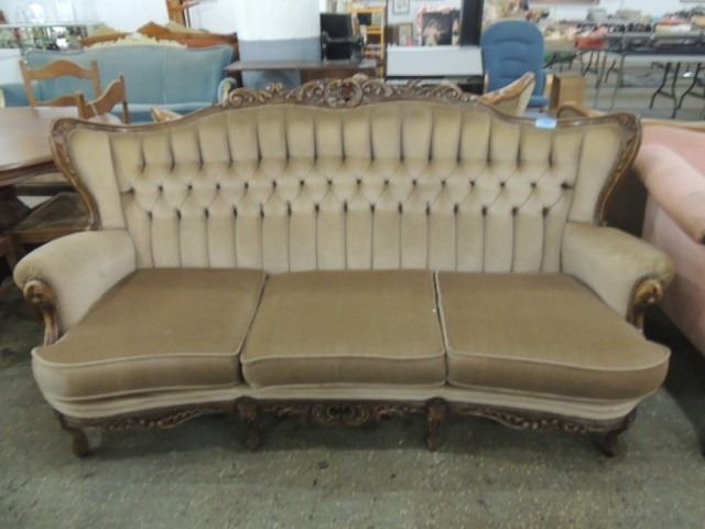 Image 1 : ANTIQUE EMPIRE STYLE SOFA COUCH WOOD TRIM