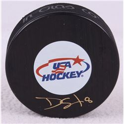 Dave Silk Signed USA Logo Hockey Puck (Schwartz COA)