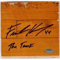 "Frank Kaminsky Signed 5x5 Game-Used Floor Piece Inscribed ""The Tank"" (Schwartz COA)"
