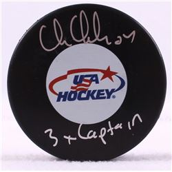 "Chris Chelios Signed Team USA Logo Hockey Puck Inscribed ""3x Captain"" (Schwartz COA)"