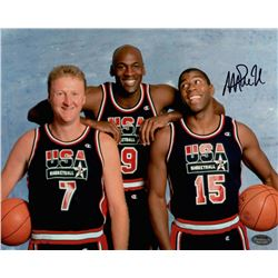 Magic Johnson Signed Team USA 8x10 Photo with Michael Jordan & Larry Bird (Schwartz COA)