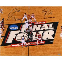 "Frank Kaminsky & Jahlil Okafor Signed 2015 National Championship 16x20 Photo Inscribed ""15 Champs"" &"