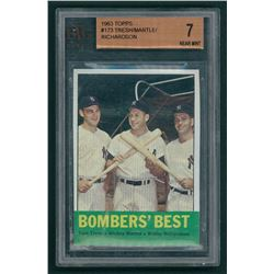 Tom Tresh / Mickey Mantle / Bobby Richardson 1963 Topps #173 Bomber's Best (BVG 7)