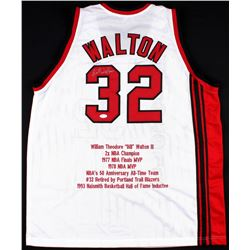 Bill Walton Signed Throwback Blazers Career Highlight Stat Jersey (JSA COA)