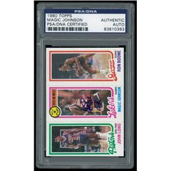 Magic Johnson Signed 1980-81 Topps #111 RC (PSA Encapsulated)