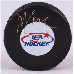 Mike Eruzione Signed USA Logo Hockey Puck (Schwartz COA)