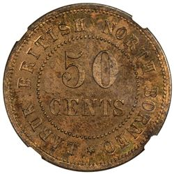 BRITISH NORTH BORNEO: red copper 50 cents