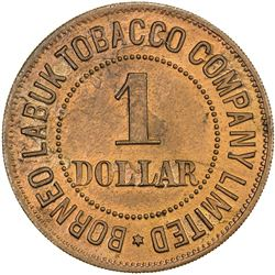 BRITISH NORTH BORNEO: red copper 1 dollar, ND (1900-1924)