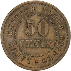 BRITISH NORTH BORNEO: copper 50 cents, ND (1924-)