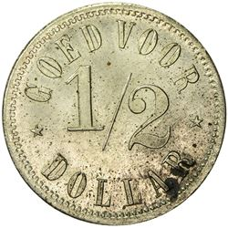 BRITISH NORTH BORNEO: copper-nickel 1/2 dollar, ND (before 1896)