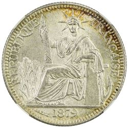 FRENCH COCHINCHINA: AR 10 cents, 1879-A