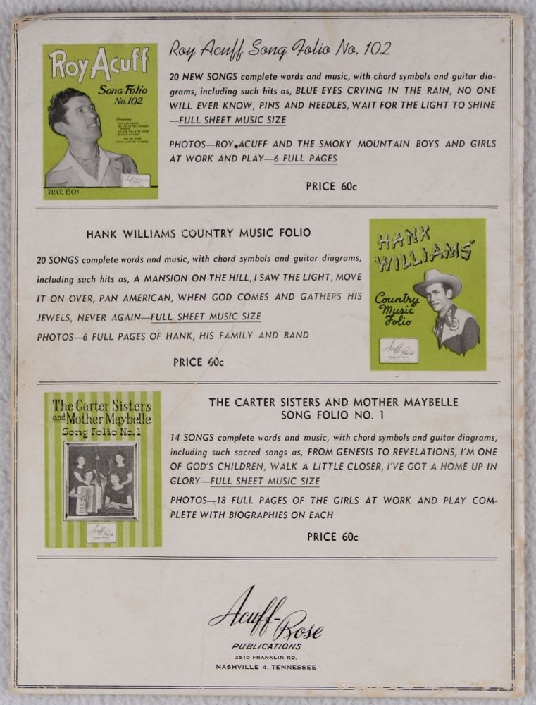 Hank Williams Sr Signed Country Music Folio Music Book Inscribed
