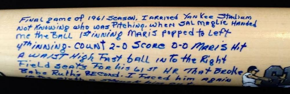 Tracy Stallard Signed Roger Maris 61st Home Run Cooperstown Story