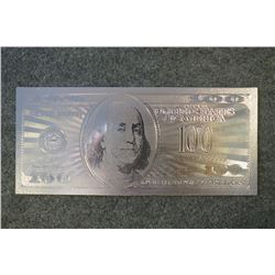 .999 pure Silver $100 US dollar banknote with COA
