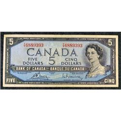 1954  BC-39c - $5 Dollar - Bank of Canada - Banknote (Modified Portrait)