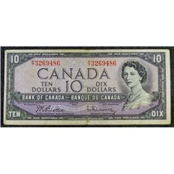 1954  BC-40b - $10 Dollar - Bank of Canada - Banknote (Modified Portrait)