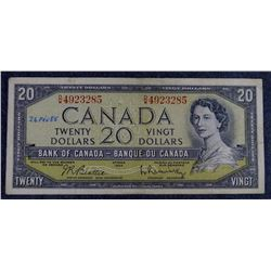 1954  BC-41b - $20 Dollar - Bank of Canada - Banknote (Modified Portrait)