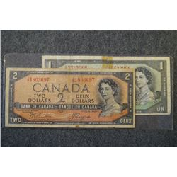1954 - Devils Face bank note lot - 2 notes