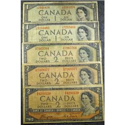 1954 - Devils Face bank note lot - 5 notes