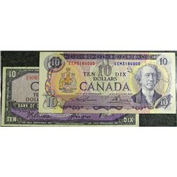 1954 and 1971 - Ten dollar bank note set