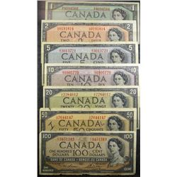 1954 Bank Note Set. 1 of each 1-2-5-10-20-50,-100