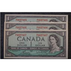 1954 Bank of Canada $1 dollar bank notes consecutive serial numbers - Lot of 3