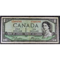 1954 BC-29b - (Devils Face) $1 - Bank of Canada - Banknote