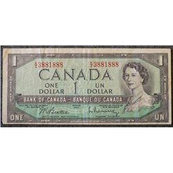 1954 BC-37b-i - Modified Portrait $1 Dollar - Bank of Canada - Banknote
