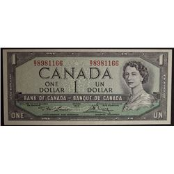 1954 BC-37d - Modified Portrait $1 Dollar - Bank of Canada - Banknote