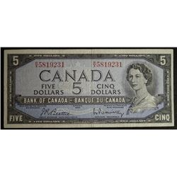 1954 BC-39b - Modified Portrait $5 Dollar - Bank of Canada - Banknote