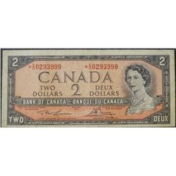 1954 Two dollar Bank of Canada Replacement Note