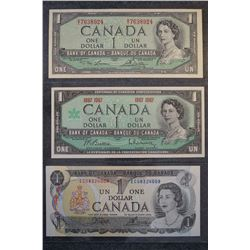 1954, 1967 & 1973 One dollar bank note set