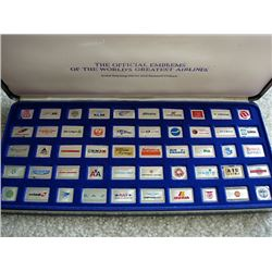 The official emblems of the Worlds Greatest Airlines displayed in sterling silver